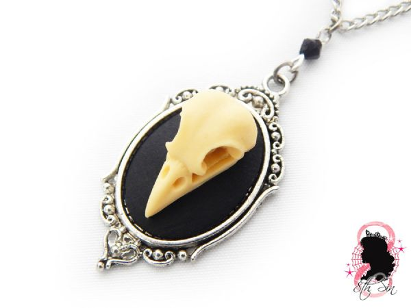 "1.5"" Antique Silver Bird Skull Cameo Necklace"